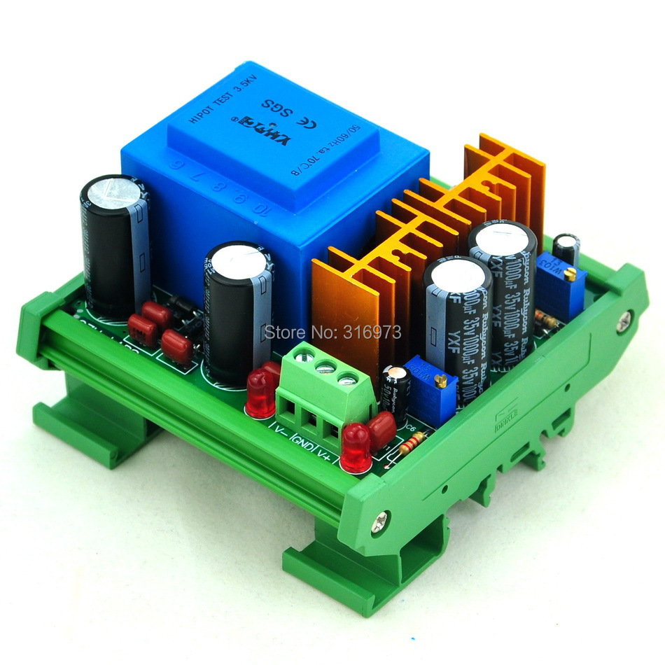 DIN Rail Mount In AC230V Out +/- DC1.25~15.8V Adjustable Voltage Regulator.