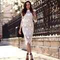 BKLD 2017 Summer Style White Lace Dresses Women O Neck Three Quarter Sleeve Bodycon Sheath Pencil Party Dresses Vestido De Renda