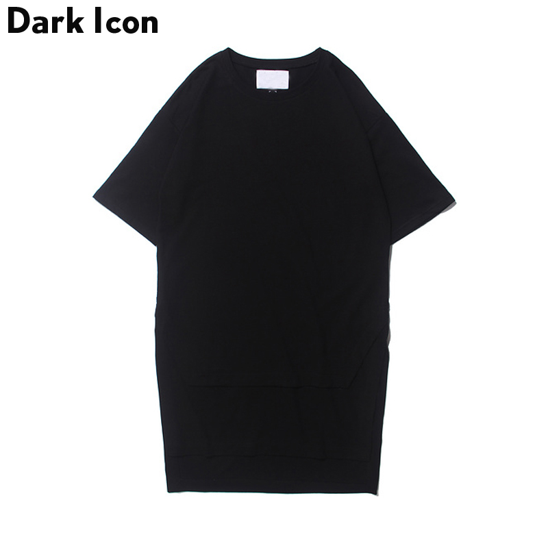 Front Short Back Long Extended Hip Hop T-shirt 2017 Summer Streetwear Blank Longline Tshirt Men's Tee Shirts Black White
