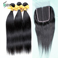 6A Cambodian Virgin Hair With Lace Closure Cambodian Straight Virgin Hair With Closure 3 Pcs Human Hair Extensions With Closure