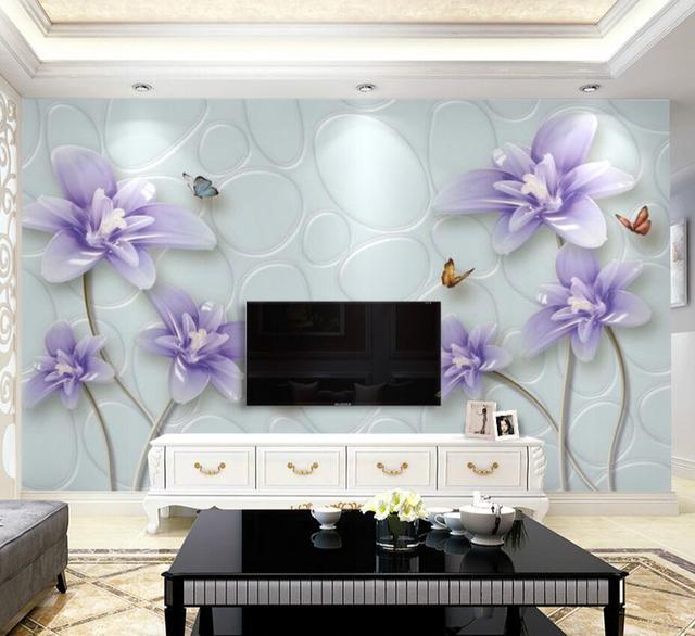 Purple Flower Kupu Wallpaper Untuk Ruang Tamu R Tidur Rumah Dinding Seni
