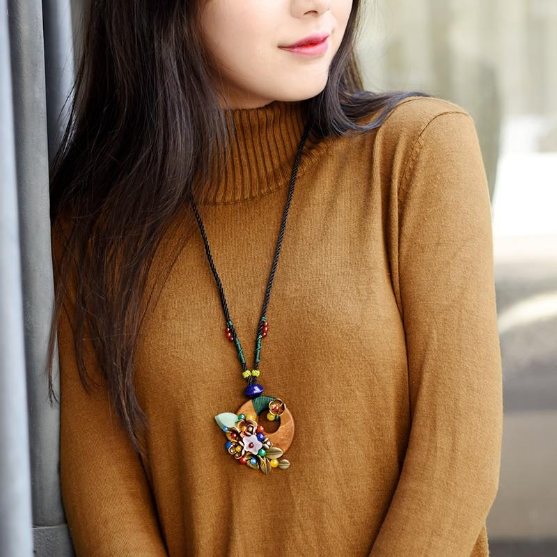스웨터 목걸이 여성 빈티지 긴 문 펜던트 목걸이 로프 나무 쉘 꽃 목걸이 민족 보석 패션 2019