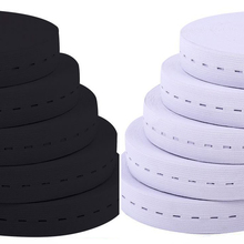 5 Meters 15/20/25MM Flat Elastic Band with Button Holes for DIY Garment Sewing Accessories White/Black Wire Webbing