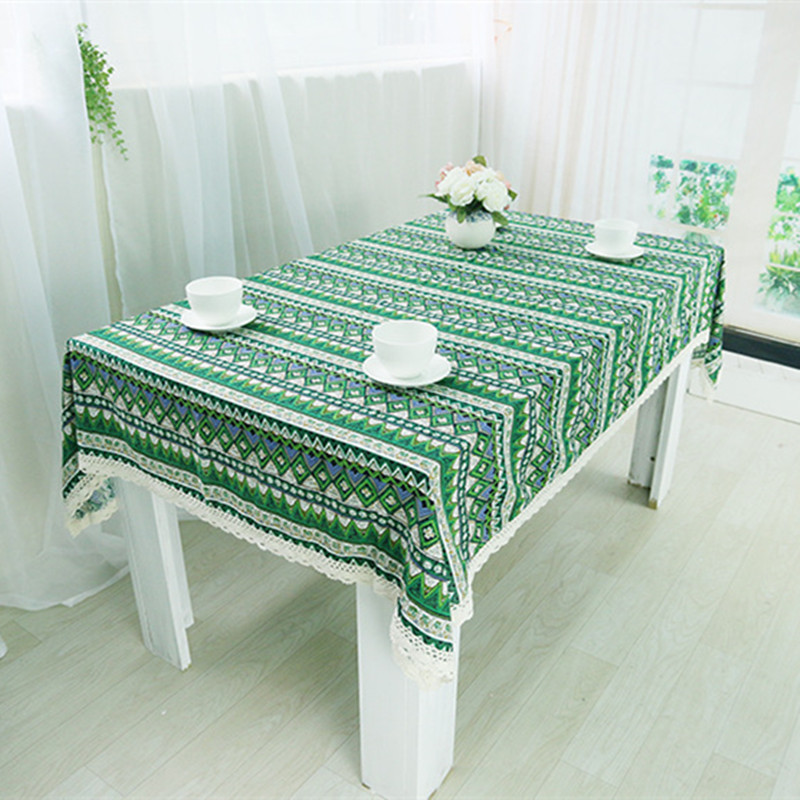 Wonderful Free Shipping New Arrival Green National Wind Tablecloths Cotton Linen Nice  Quality For Hotel/Party