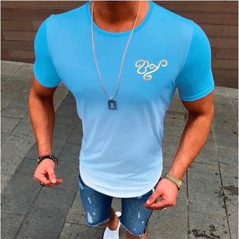 Fashion Brand Mannen T-Shirts Zomer Dunne Korte Mouwen O-hals 2019 Nieuwe T-shirt Mannen Gradiënt Kleur Slanke t-shirt Heren tops Tee