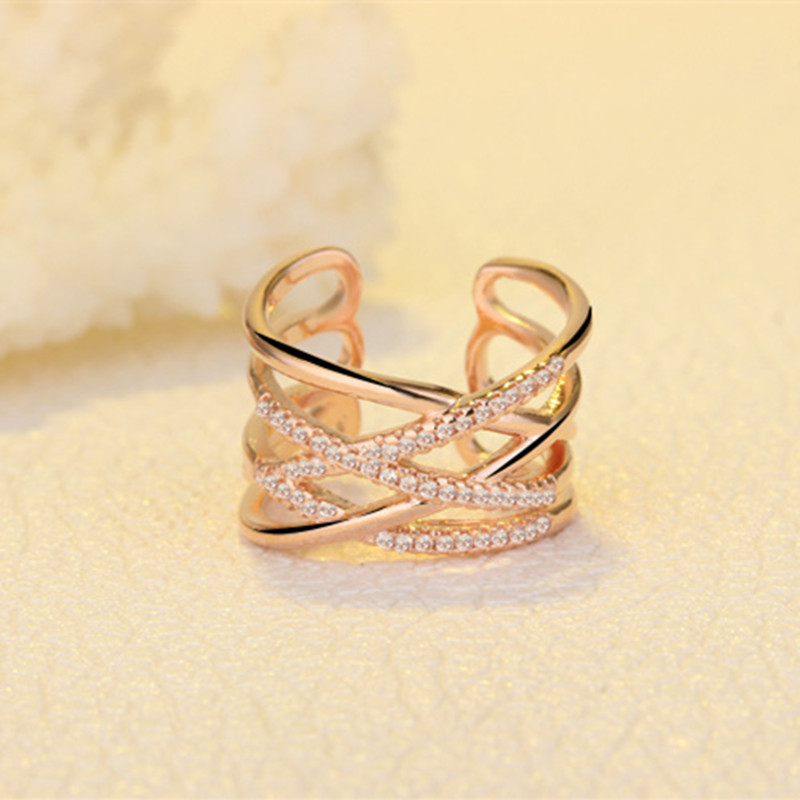 TJP Trendy Rose Gold Girl Finger Rings Jewelry Fashion 925 Silver Rings For Women Wedding Engagement Party Accessories Hot Bijou