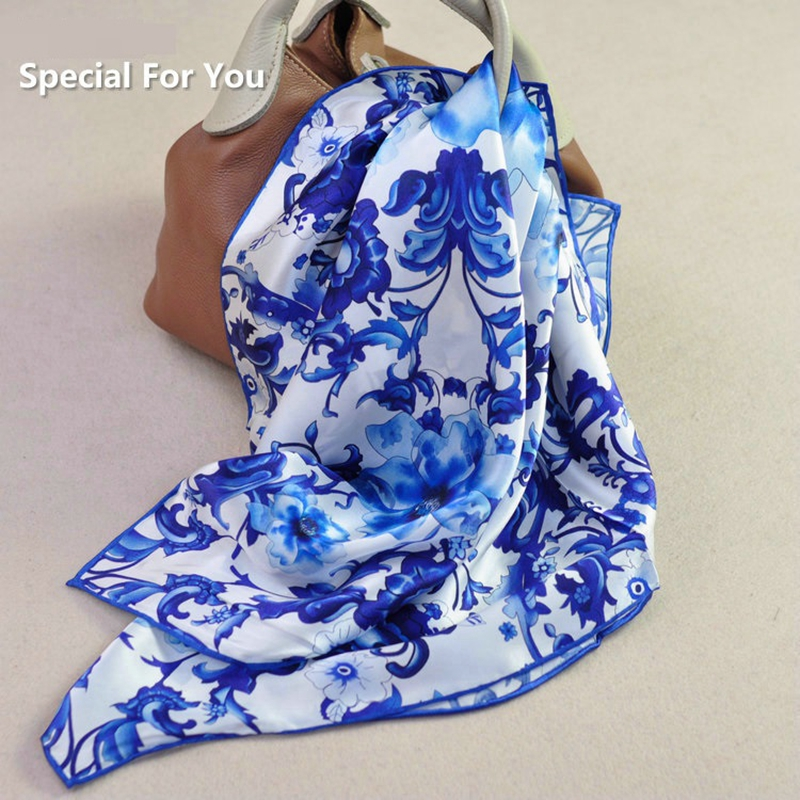 White Blue Floral Prints 100% Silk Neckerchief Bandana Women Ladies Square Silk   Scarf     Wraps   Foulard 65x65cm