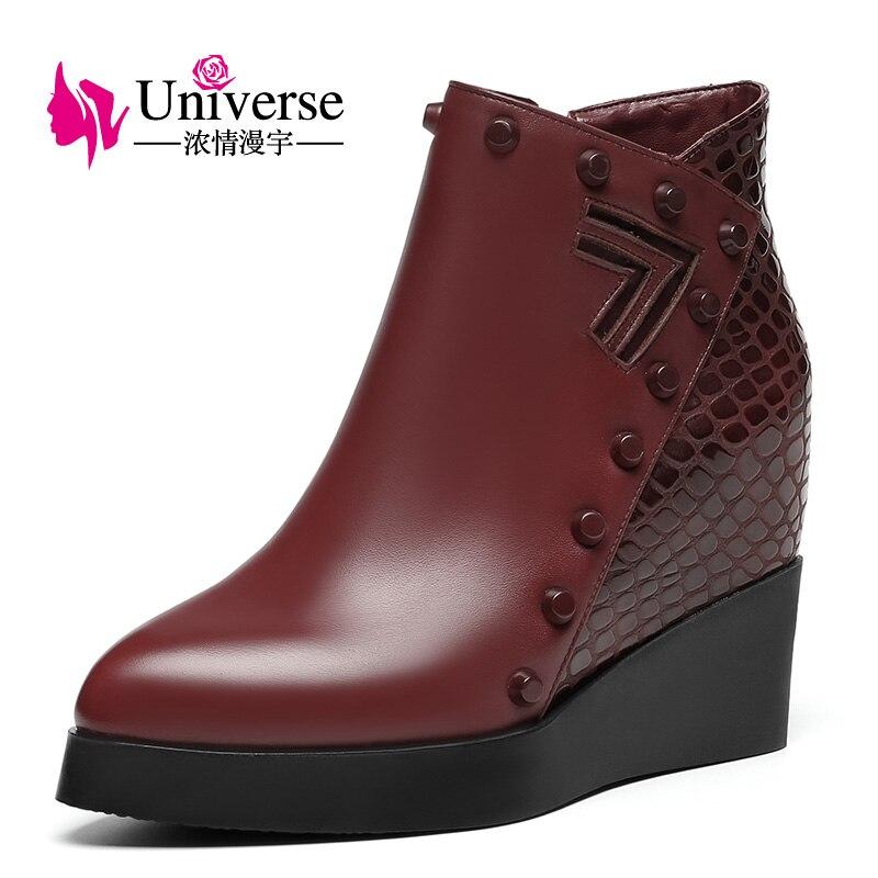 Kobiety prawdziwej skóry klinu pięty kostki buty wszechświat platformy ciepłe pluszowe zwiększona wewnętrzna buty na wysokim obcasie buty zimowe C201 w Buty do kostki od Buty na  Grupa 2