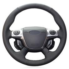 Черный PU искусственная кожа ручная работа прошитый чехол рулевого колеса автомобиля для Ford Focus 3 2012- KUGA Escape 2013- C-MAX 2011