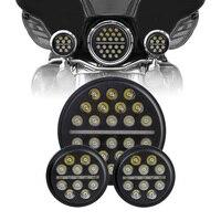 1 set Harley Daymaker 7 Round H4 Hi/low Beam LED Headlamp with 4 1/2 Passing Lamps 4.5 LED Fog Light for Harley Davidson