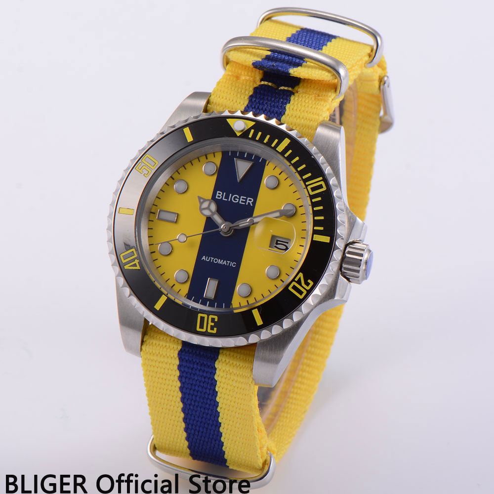 Sapphire Crystal BLIGER 40MM Yellow Blue Dial Black Ceramic Bezel Luminous Marks MIYOTA Automatic Movement Men's Wrist Watch C8 велосипед create c8 yellow 2013