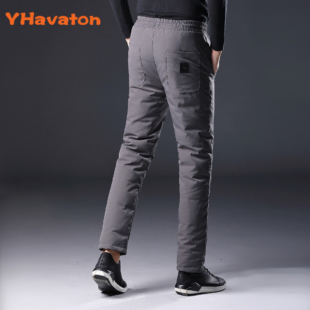 YHavaton Mens 90% White Duck Cold-proof Pants 2020 Winter Straight outside wear Business Pants Warm Duck Down Padded Trousers 3