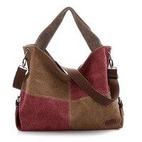 women Contrast color stitching travel organizer shoulder bags handbag women canvas tote bag ladies bags brands totes sac a main