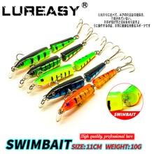 LUREASY Crank Fishing Bait 11cm / 10G 2 Segments crank Minnow lure Sinking wobbler Swimbait Accessories