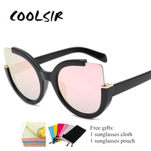 COOLSIR Sexy Cat Eye Sunglasses Women Brand Designer Mirror Sun Glasses Ladies Round Lens Shades for Eyewear UV400