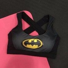 Sexy Cross Back Women Quick Dry Workout Bra with Padded Tops Vest Wireless Superhero Superman/Batman/Captain America Tank Tops