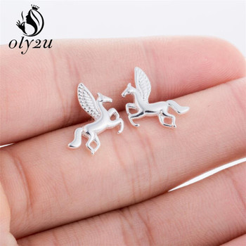 Oly2u Punk jednorożec Pegasus śliczne latający koń 3D stadniny kolczyki dla kobiet śliczne zwierząt stadniny kolczyki biżuteria oorbellen prezent