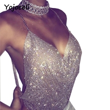 Yojoceli sexy bling bling rhinestone halter camisole top Women summer backless party busiter top club crop top