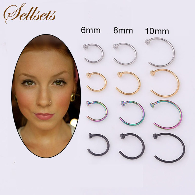 Sellsets Mixed 4pcs/lot 6mm/8mm/10mm Titanium Anodized Stainless Steel Body Jewelry Nose Piercing Nose Rings And Studs