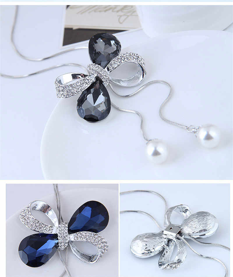 Kymyad ファッションコスチュームジュエリー女性ロングネックレスの弓のネックレス & ペンダントビジュークリスタルネックレス模造真珠のネックレス