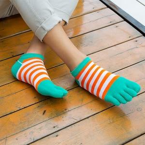 Image 5 - Veridical 5 paires/lot chaussettes en coton avec orteils hommes garçon cheville cinq doigts chaussettes bonne qualité rayé équipage bateau chaussettes mode été