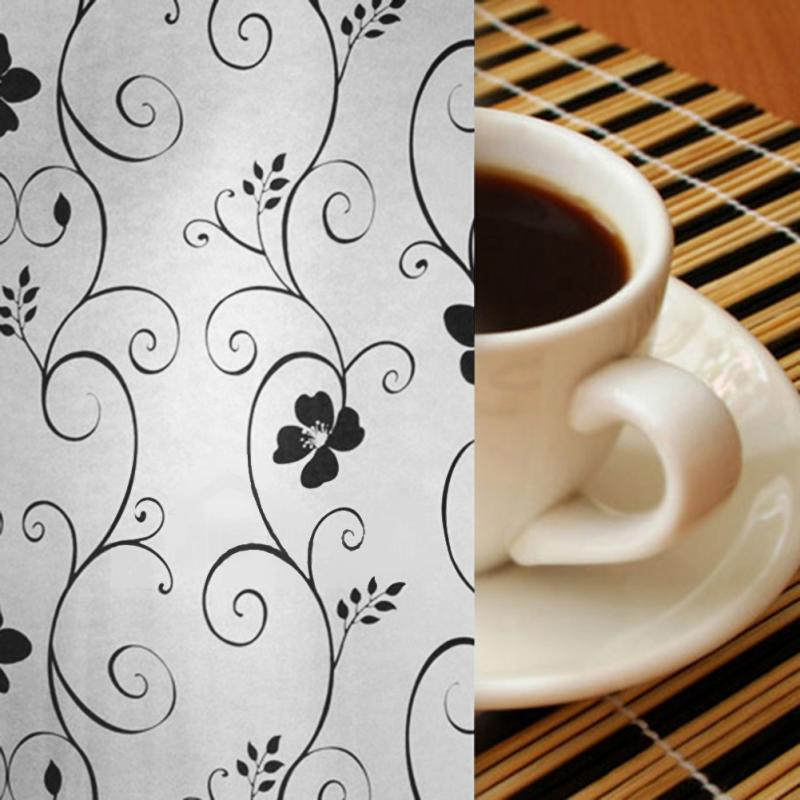 2m length waterproof flower frosted privacy home bedroom bathroom window glass film sticker home decoration