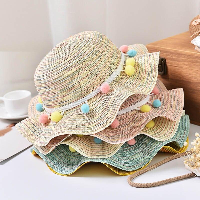 Mädchen Kleidung Sonderabschnitt Imoaa Sommer Kinder Hut Stroh Hut Farbe Ball Große Entlang Der Welle Hut Weibliche Baby Kühlen Hut Ausreichende Versorgung Hüte & Mützen
