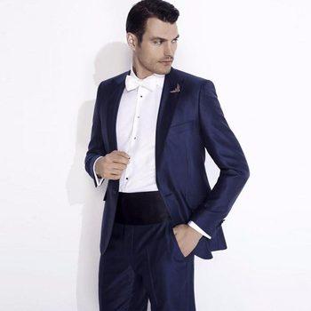 Hot Recommend One Button Blue Groom Tuxedos Groomsmen Peak Lapel Mens Suits Blazers (Jacket+Pants+Tie) W:855