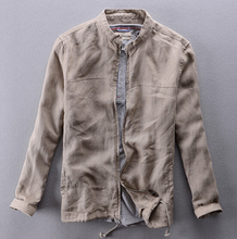 2015 Summer New linen breathable outerwear men's casual thin loose solid color linen stand collar jacket / S-XXL Free shipping !