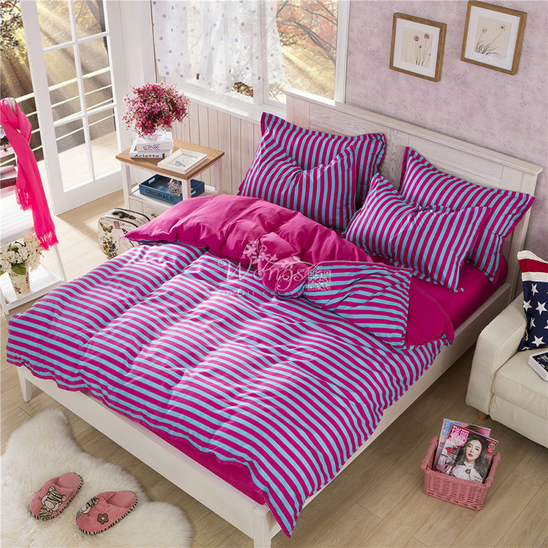 new discount bedding set purple striped queen full twin size bed quilt cover set comfortable