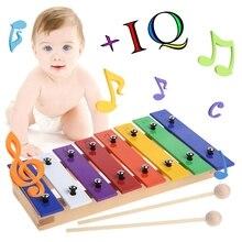 New 1Set 8 Notes Wooden Children Kid Glockenspiel Musical Instrument Music Toy