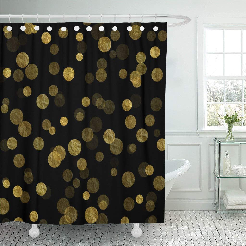 Us 17 48 30 Off Fabric Shower Curtain With Hooks Confetti Gold And Black Dots Faux Pattern Circle Shiny In Shower Curtains From Home Garden On