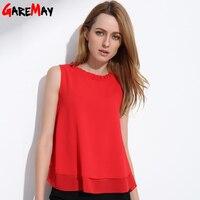 GAREMAY Kadınlar Yaz Üstleri Kolsuz Kadınsı Bluzlar Gevşek Fırfır Beyaz Gömlek Moda Şifon Bluz Kadınlar Blusas Için 001A