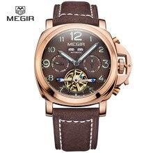 Megir reloj mecánico automático luminoso hombres nobuck correa de cuero genuino impermeable reloj de pulsera pantalla analógica relojes 3206