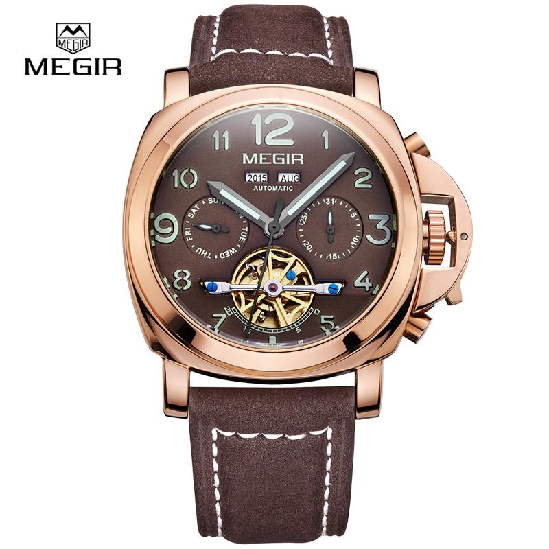 Prix pour Megir mécanique automatique montre lumineuse hommes véritable nubuck en cuir bracelet montre-bracelet étanche affichage analogique montres 3206
