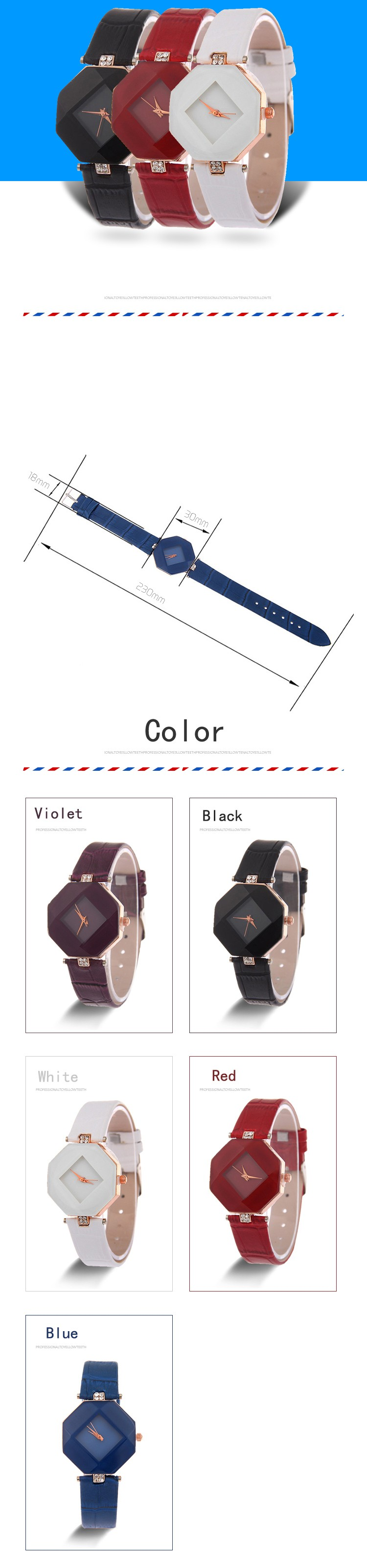high-quality 2017 new 5color jewelry watch fashion gift table women Watches Jewel gem cut black geometry quartz wristwatches 1