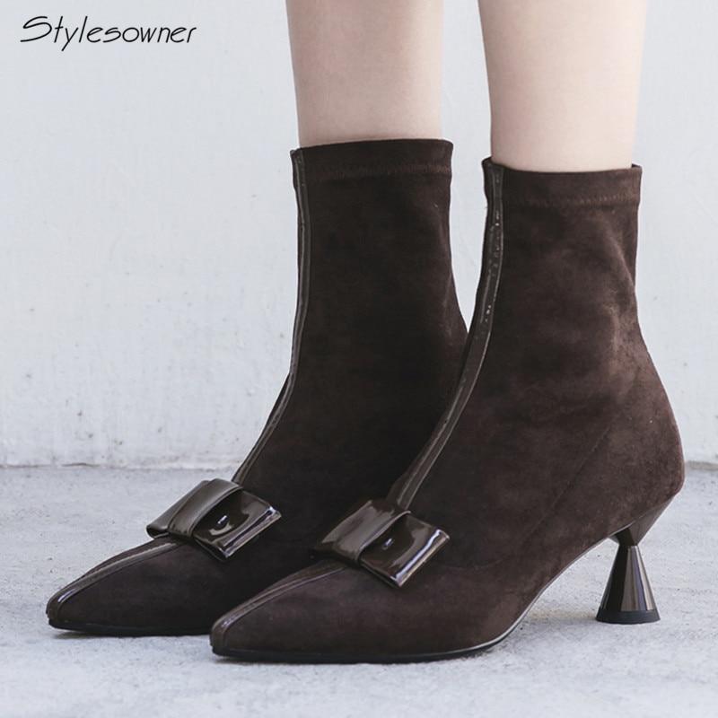 Stylesproprio bout pointu talon haut chaussette bottes en cuir véritable court bottines Sexy papillon noeud talon étrange femme Botas femmes