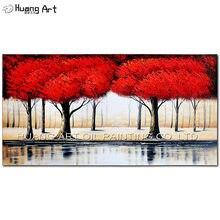 100% расписанные вручную красное дерево Пейзаж Масляные картины
