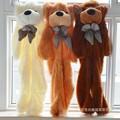 1 Unid 200 CM 3D Head 3 Colores Oso Gigante de Peluche Abrigo de Piel abrigo adulto suave felpa juguetes amigos niños diy regalo de navidad de cumpleaños