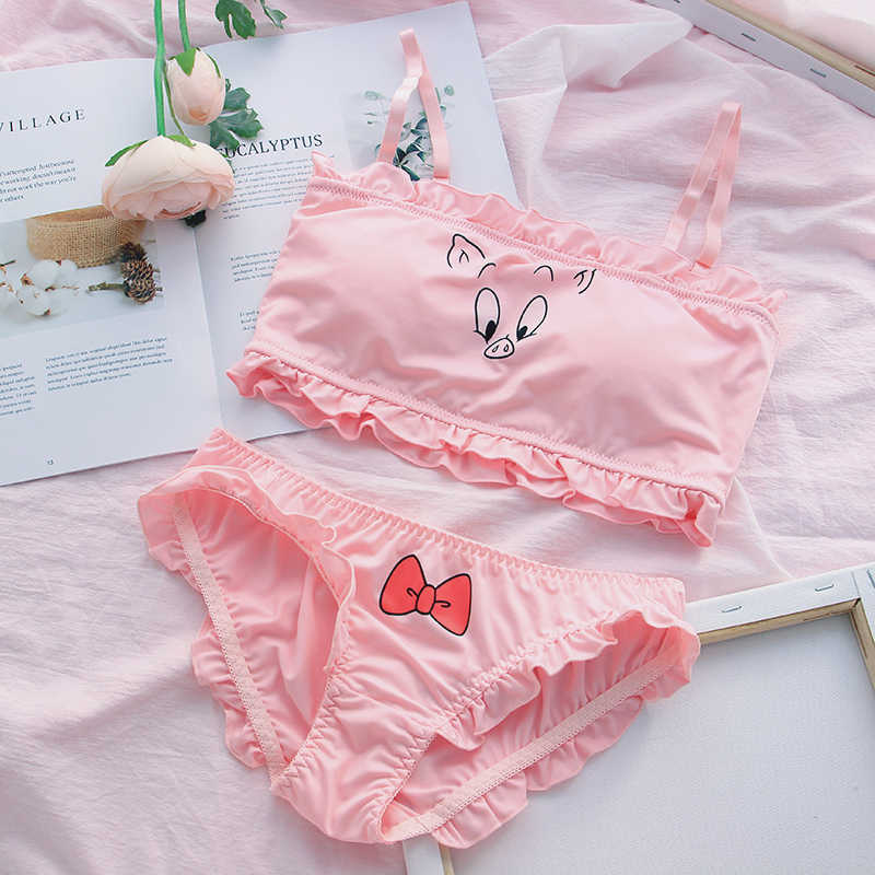 size 40 the sale of shoes factory outlets Pig girl pink girl heart bra cute sweet soft sister underwear student bra  tube top suit Lolita
