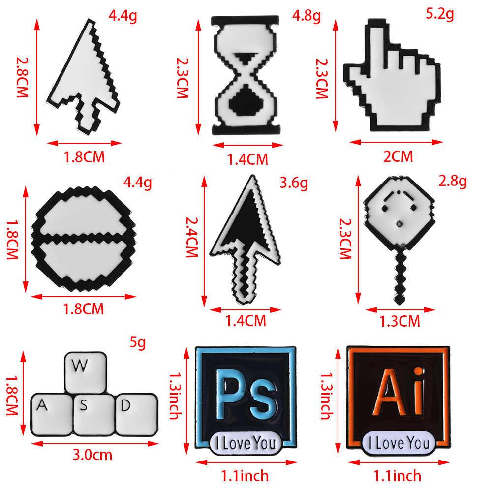 חם PS AI פוטושופ סרגל כלים שעון חול מחשב חלון סמל עכבר מצביע קלאסי פיקסל סמנים יד חץ אמייל סיכות סיכות