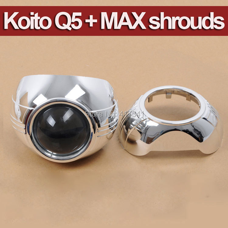 ФОТО Car Headlight Styling 3 inches H4 Koito Q5 Bi-xenon hid projector lens with MAX-A Projector shroud Mask LHD RHD