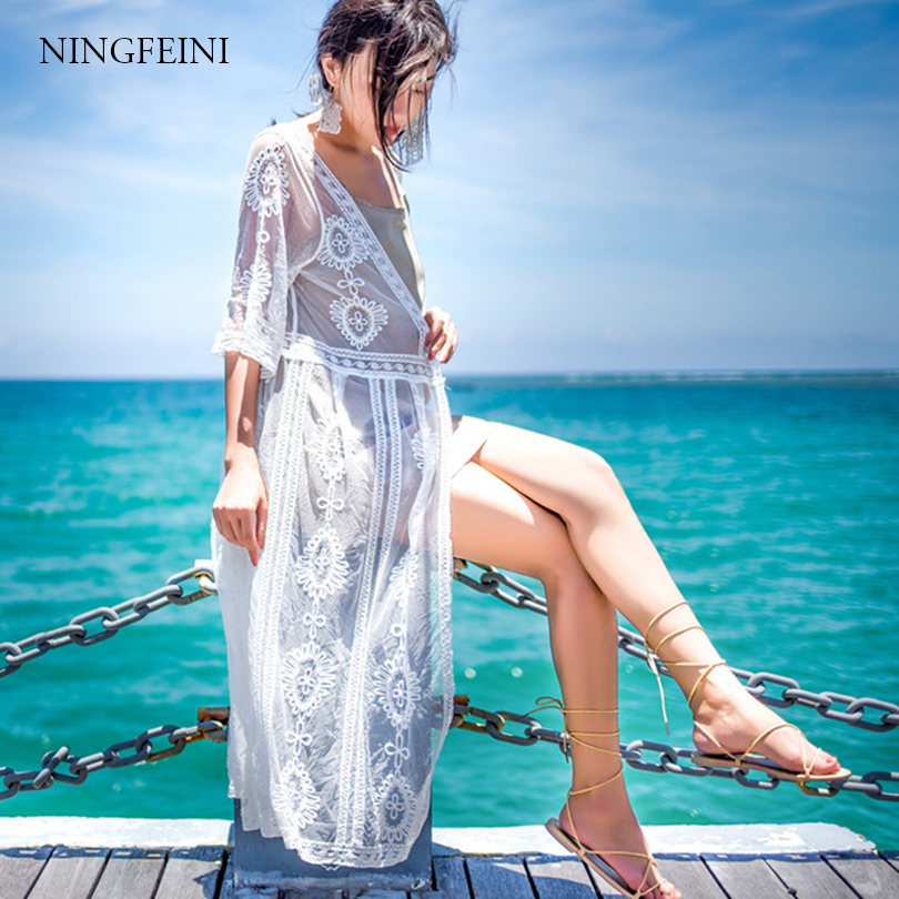 цена на NINGFEINI 2018 Bikini cover up floral chiffon lace embroidery tunic pareo crochet tassel long beach wear swimming bathing