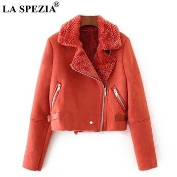 LA SPEZIA замшевые меховые пальто женские красные зимние куртки толстые теплые женские карманы на молнии свободные женские мотоциклетные байк...