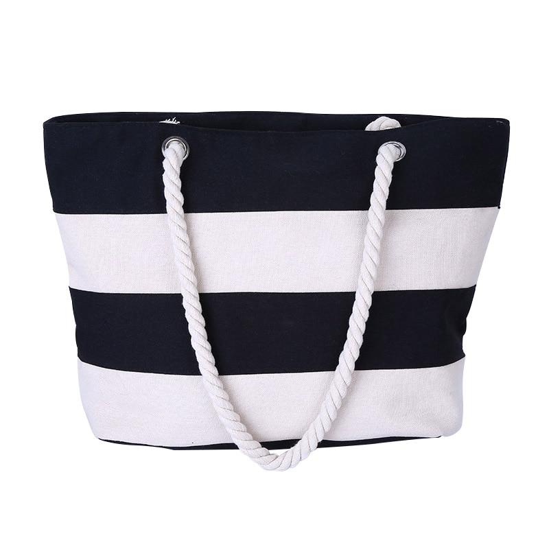VSEN Hot Women Beach Canvas Bag Fashion Stripes Printing Handbags Ladies Large Shoulder Bag Totes Casual Bag Shopping Bags