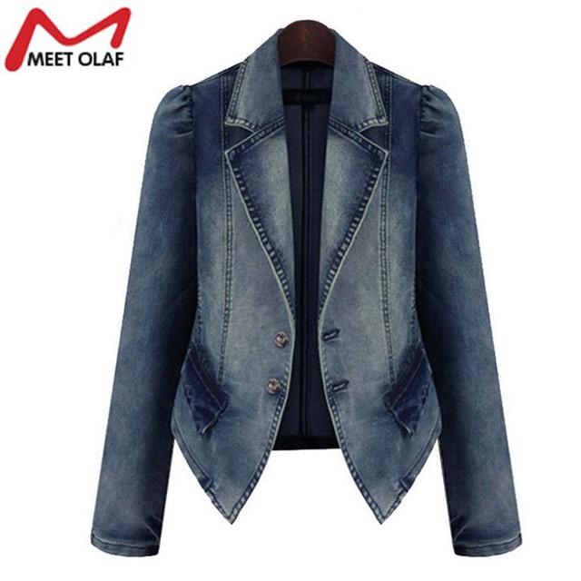 Mulheres jaqueta jeans outono inverno vintage oversize solta calça jeans femininos sólidos brasão magro chaquetas mujer jaqueta feminina yl055n