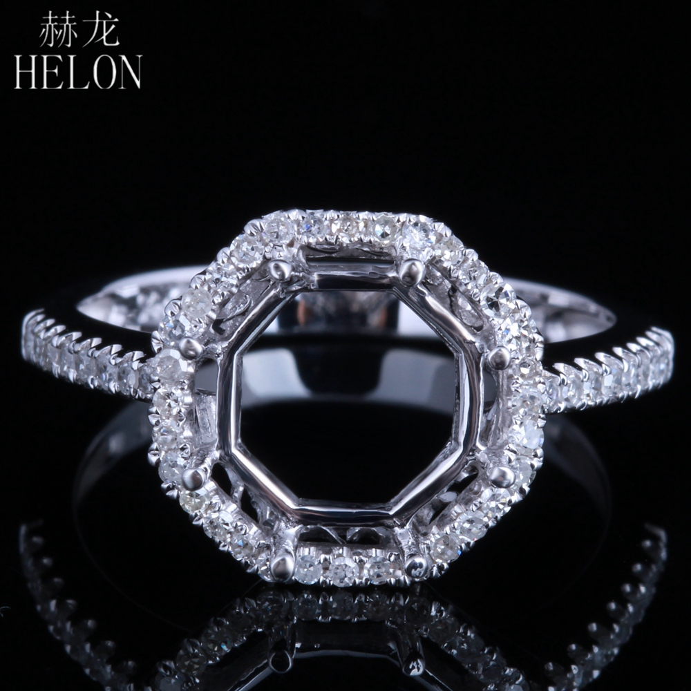 HELON Solid 14k White Gold Natural Diamonds Engagement Semi Mount Rings Round Cut 8.5-9.5mm Setting Women Romantic Fine JewelryHELON Solid 14k White Gold Natural Diamonds Engagement Semi Mount Rings Round Cut 8.5-9.5mm Setting Women Romantic Fine Jewelry