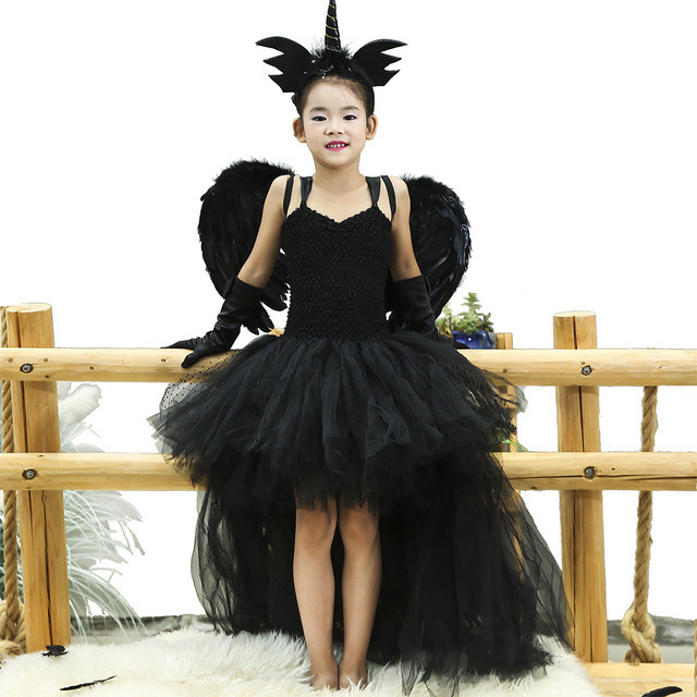 Black Angel Tutu Dress Before Short After Long Tulle Girl Dress Tail Kids Pageant Evening Party Dress Girls Halloween Costume image