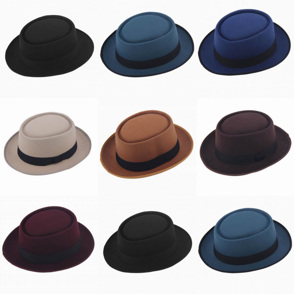 2015 Fashion Unisex Felt Pork Pie Men curled edg cap European American flat  caps circular top hats Fedoras chapeu fedora hat-in Fedoras from Apparel ... 831bb8aeef6