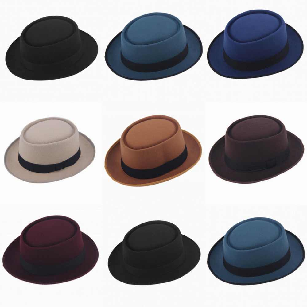 ... 2015 Fashion Unisex Felt Pork Pie Men curled edg cap European American  flat caps circular top ... e671edc67e42